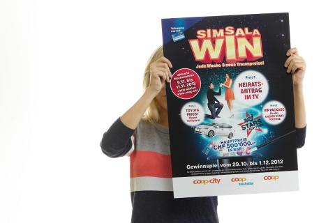 Neue Woche, neues Glück: Bei der Simsalawin Promotion wurden die Wochenpreise in wechselnden Sujets kommuniziert.