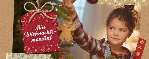 Coop Weihnachtskampagne Min Wiehnachtsmomaent mit Kind, das den Baum schmueckt