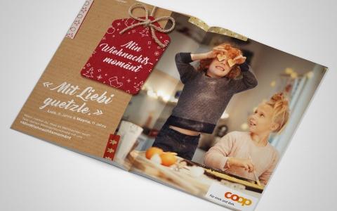 Coop Weihnachtskampagne Min Wiehnachtsmomaent mit Kindern, die backen