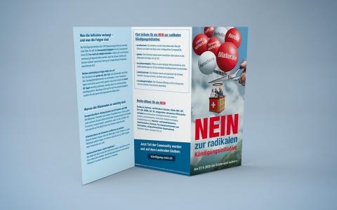 Kampagnematerial für economiesiusse Nein zur Kuendigungsinitiative