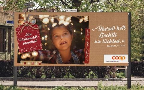 Coop Weihnachtskampagne Min Wiehnachtsmomaent mit Kind vor Lichtern