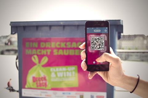 Via QR-Code auf den Entsorgungscontainern gelangt man auf die Drecksack Mobile-Site.